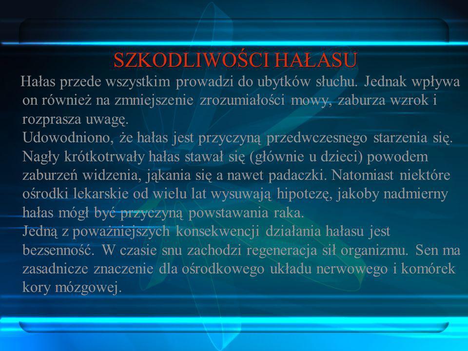 Dobre rezultaty uzyskuje się dzięki zastosowaniu specjalnych ekranów dźwiękochłonnych, paneli, materiałów i ustrojów dźwiękoizolacyjnych i dźwiękochłonnych Kierunki działań w zakresie ochrony przed hałasem: Hałas przez wielu mieszkańców miasta stołecznego Warszawy jest odczuwany jako jeden z najbardziej uciążliwych czynników ujemnie wpływających na środowisko.