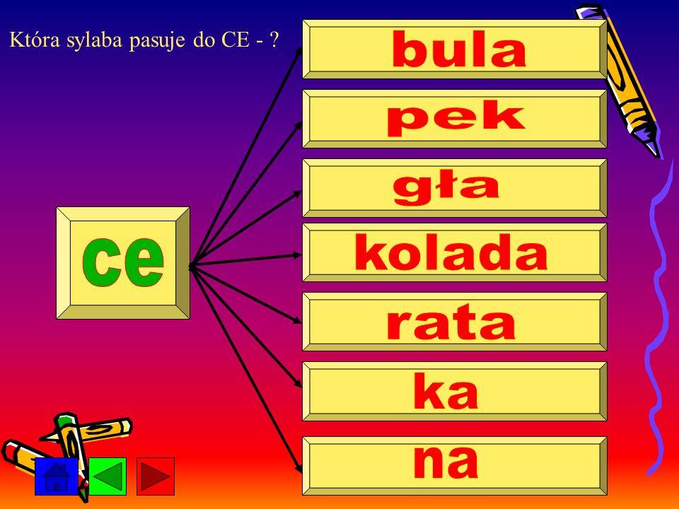 Która sylaba pasuje do CE - ?