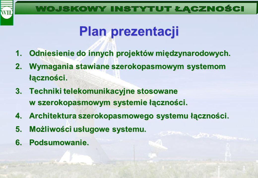 Plan prezentacji 1.Odniesienie do innych projektów międzynarodowych. 2.Wymagania stawiane szerokopasmowym systemom łączności. 3.Techniki telekomunikac