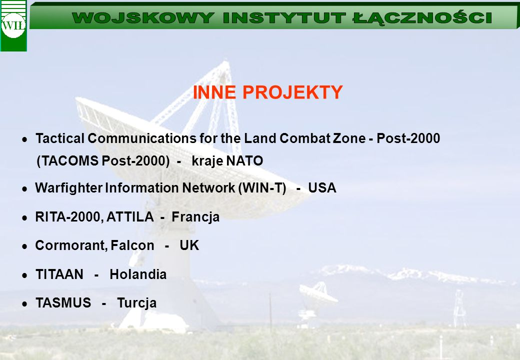INNE PROJEKTY Tactical Communications for the Land Combat Zone - Post-2000 (TACOMS Post-2000) - kraje NATO Warfighter Information Network (WIN-T) - US
