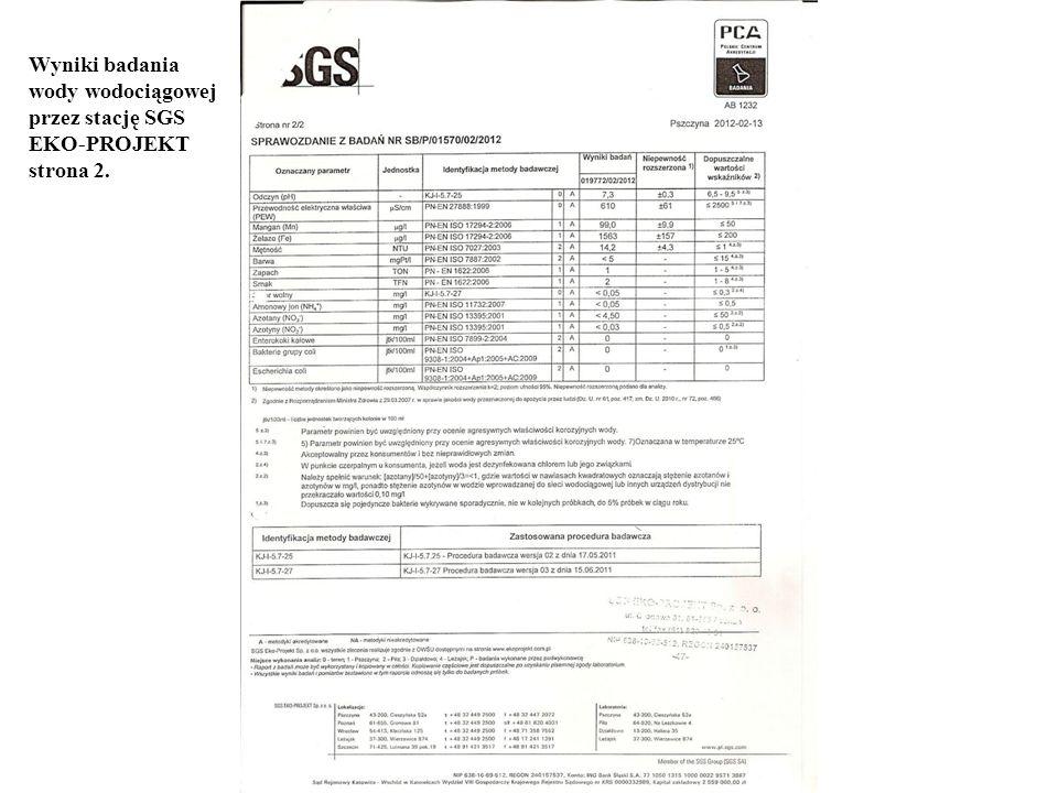 Wyniki badania wody wodociągowej przez stację SGS EKO-PROJEKT strona 2.