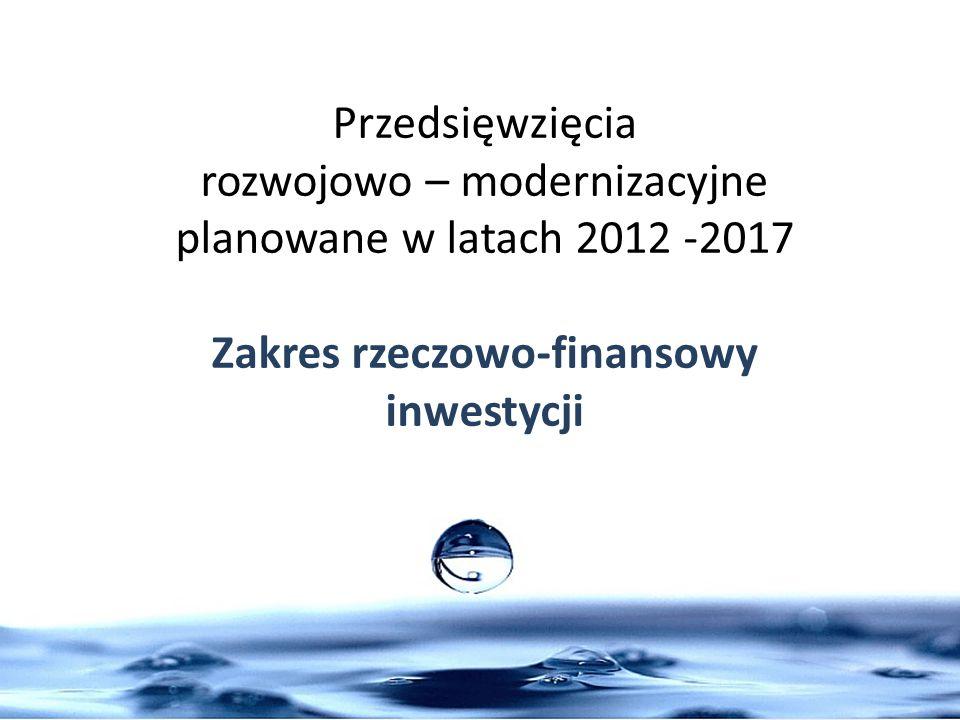 Przedsięwzięcia rozwojowo – modernizacyjne planowane w latach 2012 -2017 Zakres rzeczowo-finansowy inwestycji