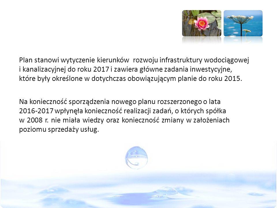 Plan stanowi wytyczenie kierunków rozwoju infrastruktury wodociągowej i kanalizacyjnej do roku 2017 i zawiera główne zadania inwestycyjne, które były