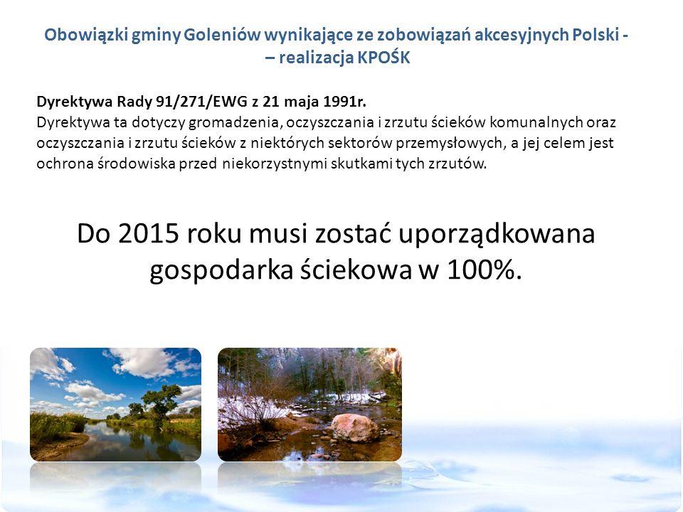 Obowiązki gminy Goleniów wynikające ze zobowiązań akcesyjnych Polski - – realizacja KPOŚK Dyrektywa Rady 91/271/EWG z 21 maja 1991r. Dyrektywa ta doty