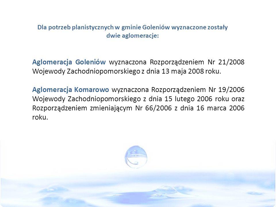 Dla potrzeb planistycznych w gminie Goleniów wyznaczone zostały dwie aglomeracje: Aglomeracja Goleniów wyznaczona Rozporządzeniem Nr 21/2008 Wojewody