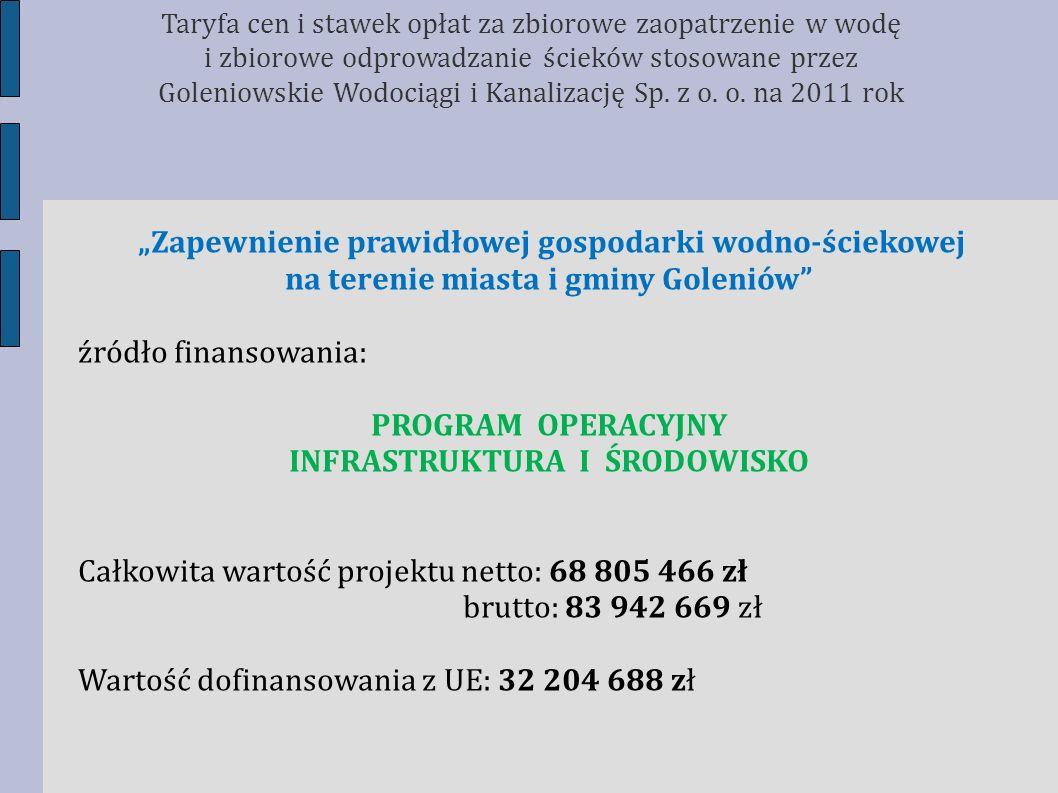Zapewnienie prawidłowej gospodarki wodno-ściekowej na terenie miasta i gminy Goleniów źródło finansowania: PROGRAM OPERACYJNY INFRASTRUKTURA I ŚRODOWI