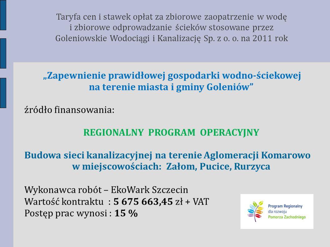 Zapewnienie prawidłowej gospodarki wodno-ściekowej na terenie miasta i gminy Goleniów źródło finansowania: REGIONALNY PROGRAM OPERACYJNY Budowa sieci