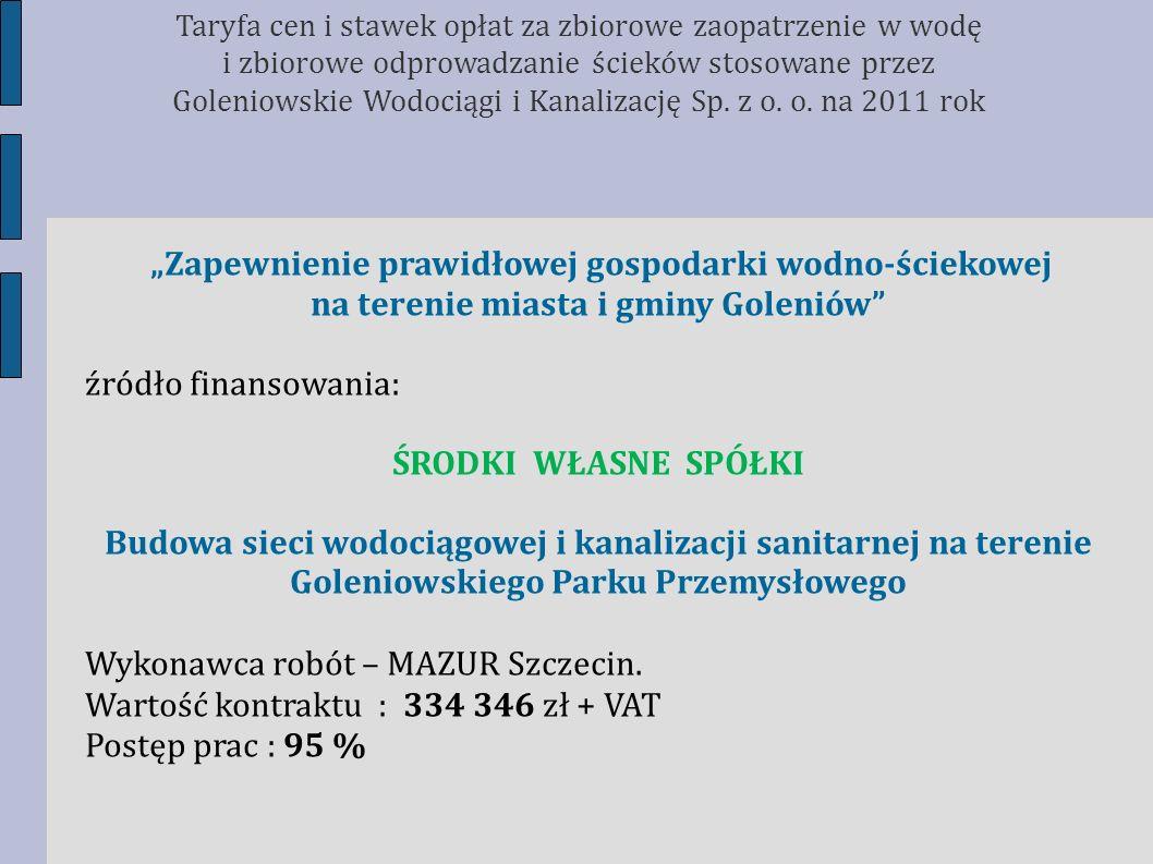 Zapewnienie prawidłowej gospodarki wodno-ściekowej na terenie miasta i gminy Goleniów źródło finansowania: ŚRODKI WŁASNE SPÓŁKI Budowa sieci wodociągo