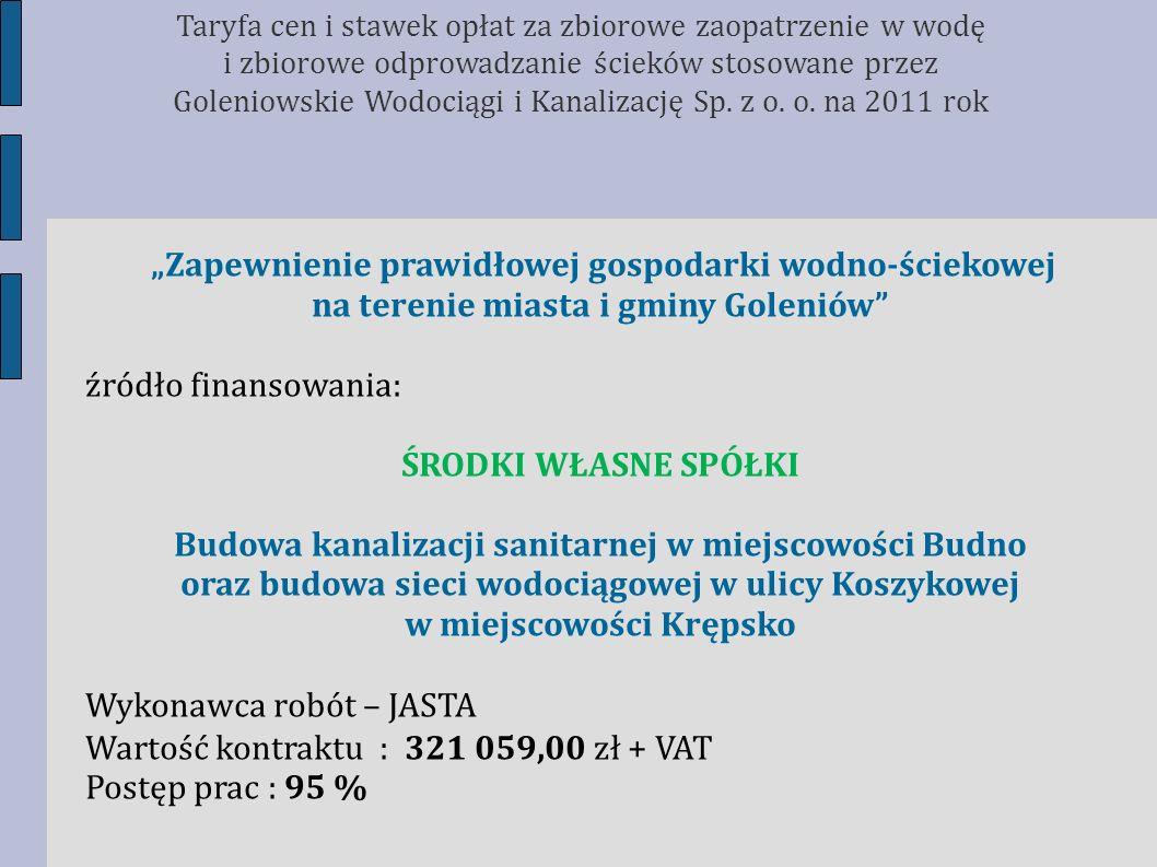 Zapewnienie prawidłowej gospodarki wodno-ściekowej na terenie miasta i gminy Goleniów źródło finansowania: ŚRODKI WŁASNE SPÓŁKI Budowa kanalizacji san