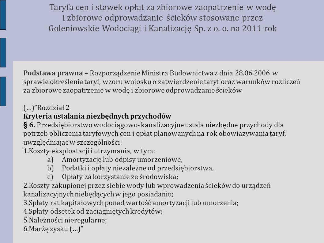 Porównanie obowiązujących i planowanych taryf w sąsiednich gminach (odbiorcy indywidualni) Taryfa cen i stawek opłat za zbiorowe zaopatrzenie w wodę i zbiorowe odprowadzanie ścieków stosowane przez Goleniowskie Wodociągi i Kanalizację Sp.