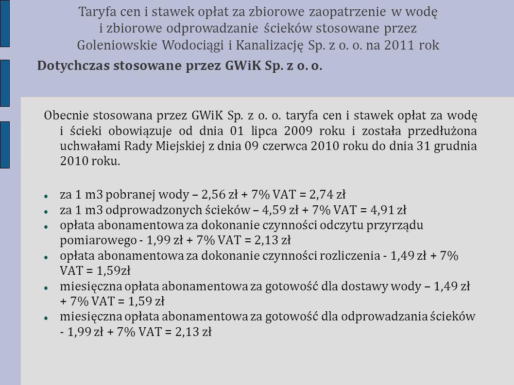 Obecnie stosowana przez GWiK Sp. z o. o. taryfa cen i stawek opłat za wodę i ścieki obowiązuje od dnia 01 lipca 2009 roku i została przedłużona uchwał