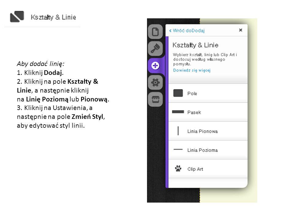 Aby dodać menu rozwijane: 1.Kliknij na zakładkę Dodaj.