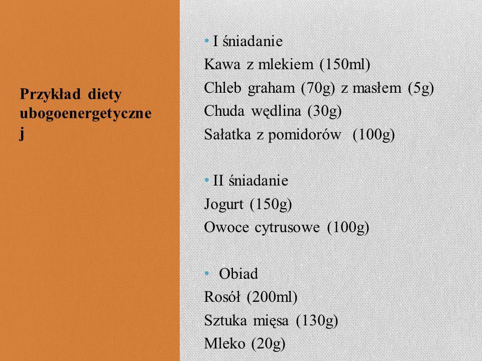 I śniadanie Kawa z mlekiem (150ml) Chleb graham (70g) z masłem (5g) Chuda wędlina (30g) Sałatka z pomidorów (100g) II śniadanie Jogurt (150g) Owoce cy