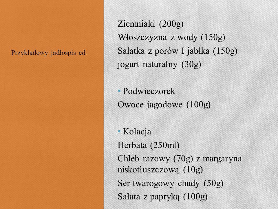 Ziemniaki (200g) Włoszczyzna z wody (150g) Sałatka z porów I jabłka (150g) jogurt naturalny (30g) Podwieczorek Owoce jagodowe (100g) Kolacja Herbata (