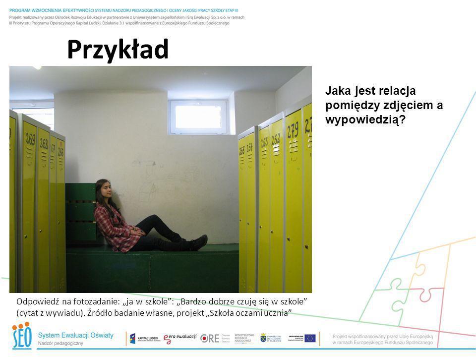 Przykład Odpowiedź na fotozadanie: ja w szkole: Bardzo dobrze czuję się w szkole (cytat z wywiadu). Źródło badanie własne, projekt Szkoła oczami uczni