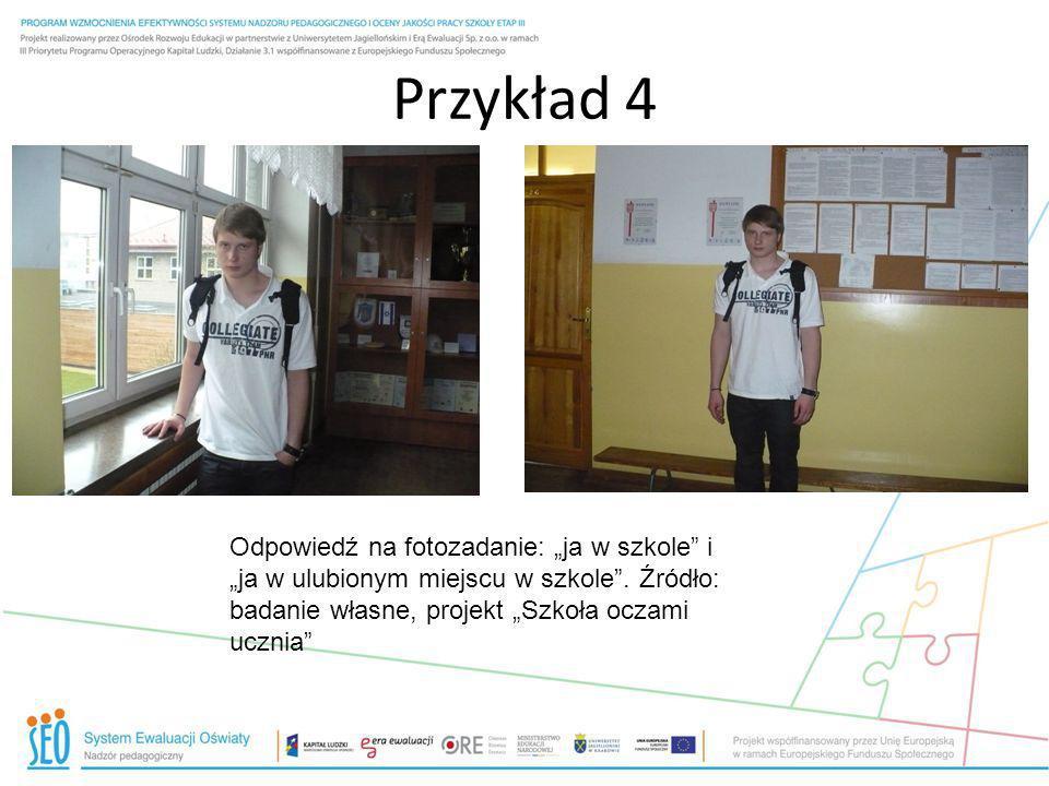 Przykład 4 Odpowiedź na fotozadanie: ja w szkole i ja w ulubionym miejscu w szkole. Źródło: badanie własne, projekt Szkoła oczami ucznia