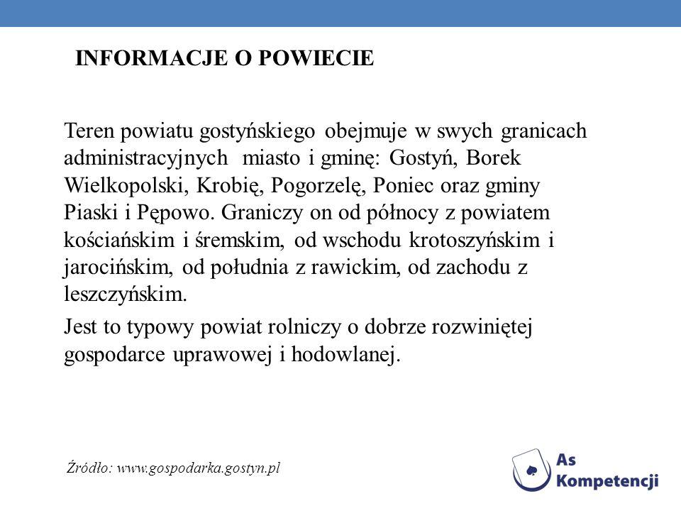Teren powiatu gostyńskiego obejmuje w swych granicach administracyjnych miasto i gminę: Gostyń, Borek Wielkopolski, Krobię, Pogorzelę, Poniec oraz gmi