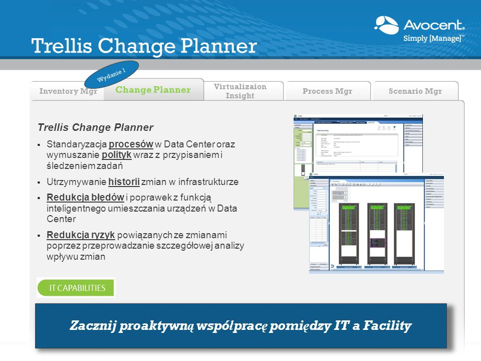 Virtualizaion Insight Inventory Mgr Change Planner Process Mgr Scenario Mgr Trellis Change Planner Standaryzacja procesów w Data Center oraz wymuszani