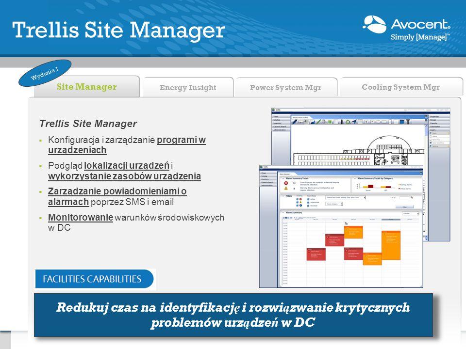 Energy Insight Site Manager Power System Mgr Cooling System Mgr Trellis Site Manager Konfiguracja i zarządzanie programi w urządzeniach Podgląd lokali