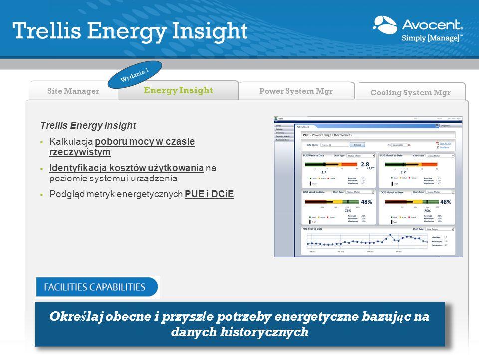 Power System Mgr Site Manager Energy Insight Cooling System Mgr Trellis Energy Insight Kalkulacja poboru mocy w czasie rzeczywistym Identyfikacja kosz