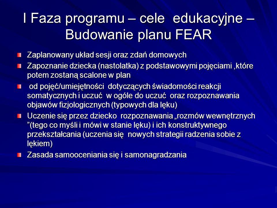 I Faza programu – cele edukacyjne – Budowanie planu FEAR Zaplanowany układ sesji oraz zdań domowych Zapoznanie dziecka (nastolatka) z podstawowymi poj