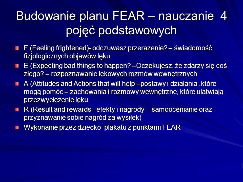 Budowanie planu FEAR – nauczanie 4 pojęć podstawowych F (Feeling frightened)- odczuwasz przerażenie? – świadomość fizjologicznych objawów lęku E (Expe