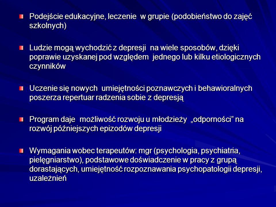 Podejście edukacyjne, leczenie w grupie (podobieństwo do zajęć szkolnych) Ludzie mogą wychodzić z depresji na wiele sposobów, dzięki poprawie uzyskane