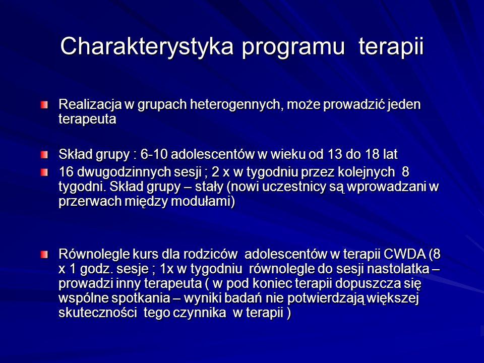 Charakterystyka programu terapii Realizacja w grupach heterogennych, może prowadzić jeden terapeuta Skład grupy : 6-10 adolescentów w wieku od 13 do 1