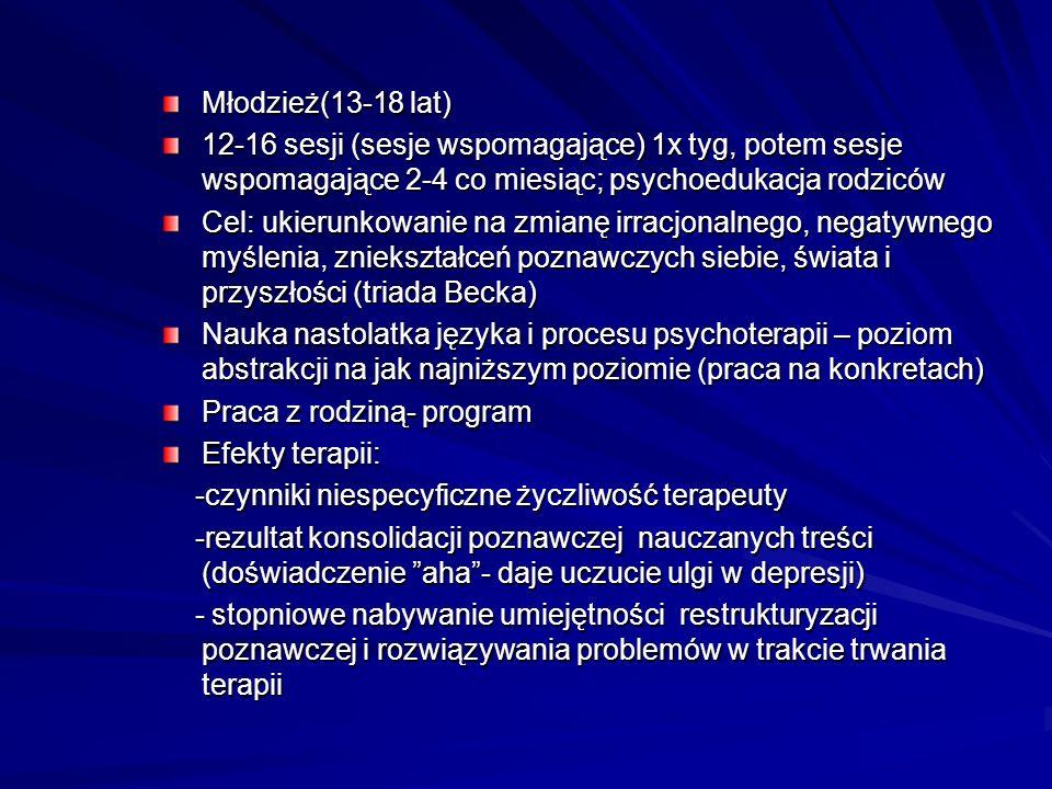 Młodzież(13-18 lat) 12-16 sesji (sesje wspomagające) 1x tyg, potem sesje wspomagające 2-4 co miesiąc; psychoedukacja rodziców Cel: ukierunkowanie na z