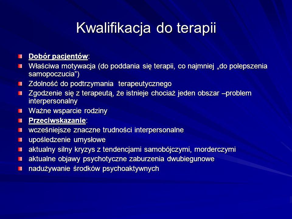 Kwalifikacja do terapii Dobór pacjentów: Właściwa motywacja (do poddania się terapii, co najmniej do polepszenia samopoczucia) Zdolność do podtrzymani