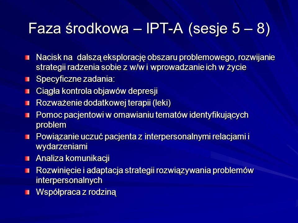 Faza środkowa – IPT-A (sesje 5 – 8) Nacisk na dalszą eksplorację obszaru problemowego, rozwijanie strategii radzenia sobie z w/w i wprowadzanie ich w