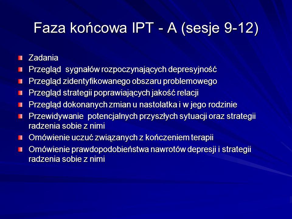Faza końcowa IPT - A (sesje 9-12) Zadania Przegląd sygnałów rozpoczynających depresyjność Przegląd zidentyfikowanego obszaru problemowego Przegląd str
