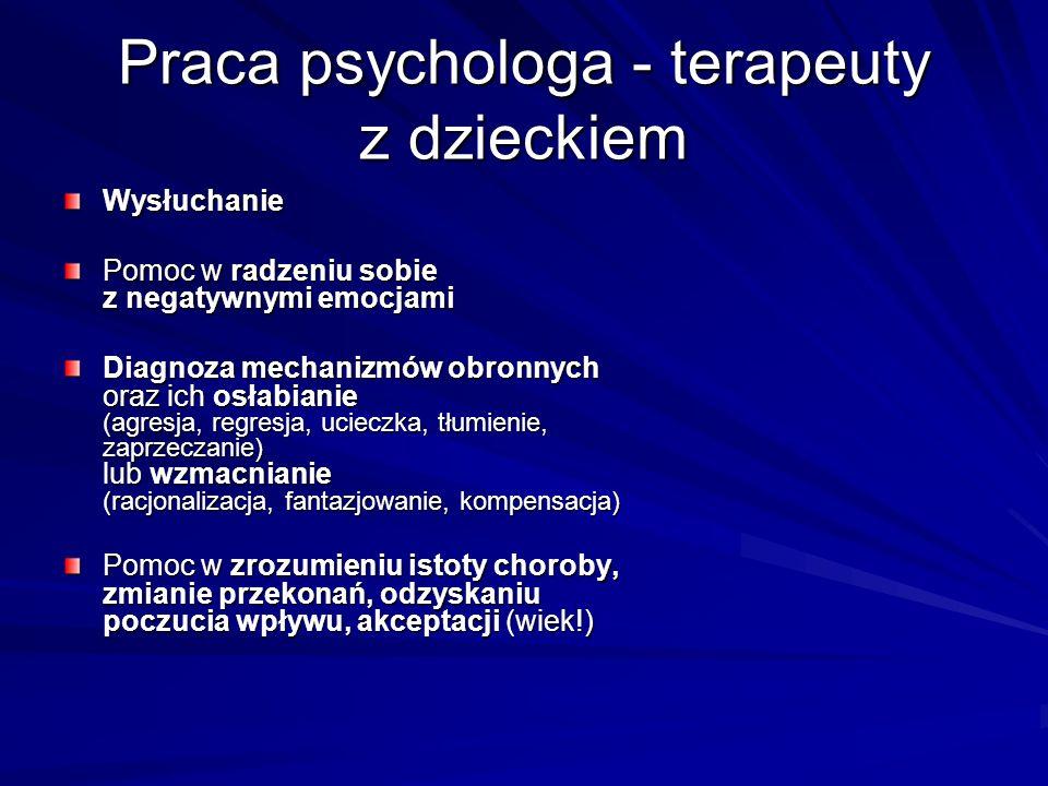 Praca psychologa - terapeuty z dzieckiem Wysłuchanie Pomoc w radzeniu sobie z negatywnymi emocjami Diagnoza mechanizmów obronnych oraz ich osłabianie