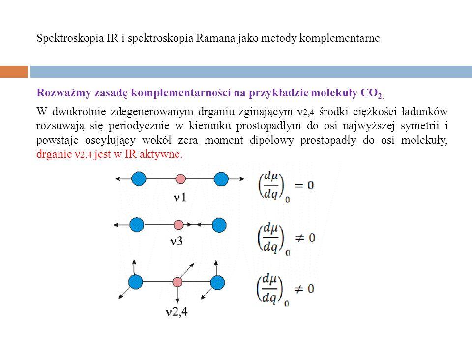 Rozważmy zasadę komplementarności na przykładzie molekuły CO 2. W dwukrotnie zdegenerowanym drganiu zginającym ν 2,4 środki ciężkości ładunków rozsuwa