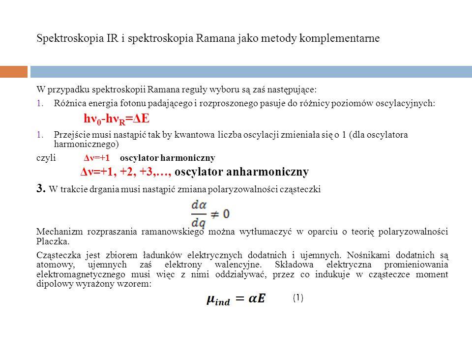 Literatura: Z.Kęcki, Podstawy spektroskopii molekularnej, PWN 1998.