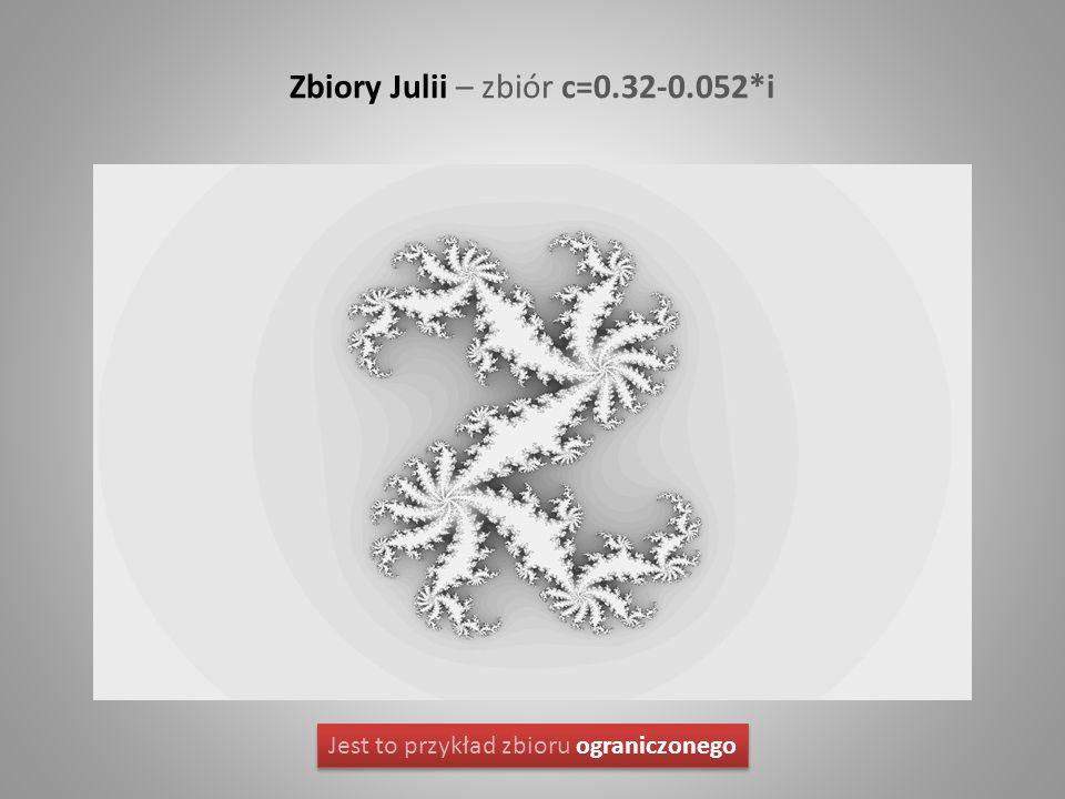 Zbiory Julii – zbiór c=0.32-0.052*i Jest to przykład zbioru ograniczonego