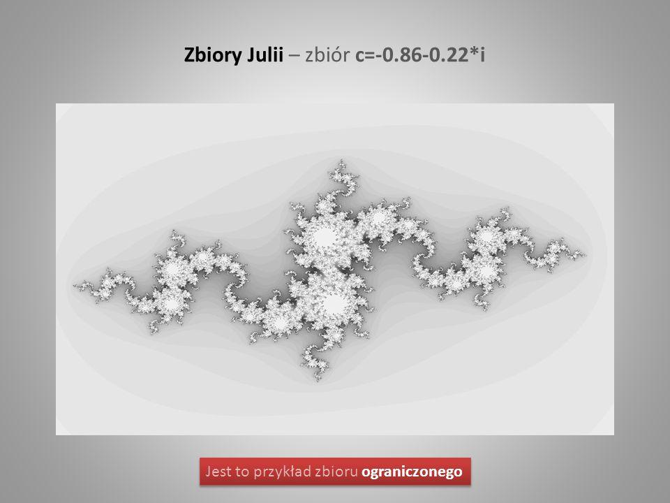 Zbiory Julii – zbiór c=-0.86-0.22*i Jest to przykład zbioru ograniczonego
