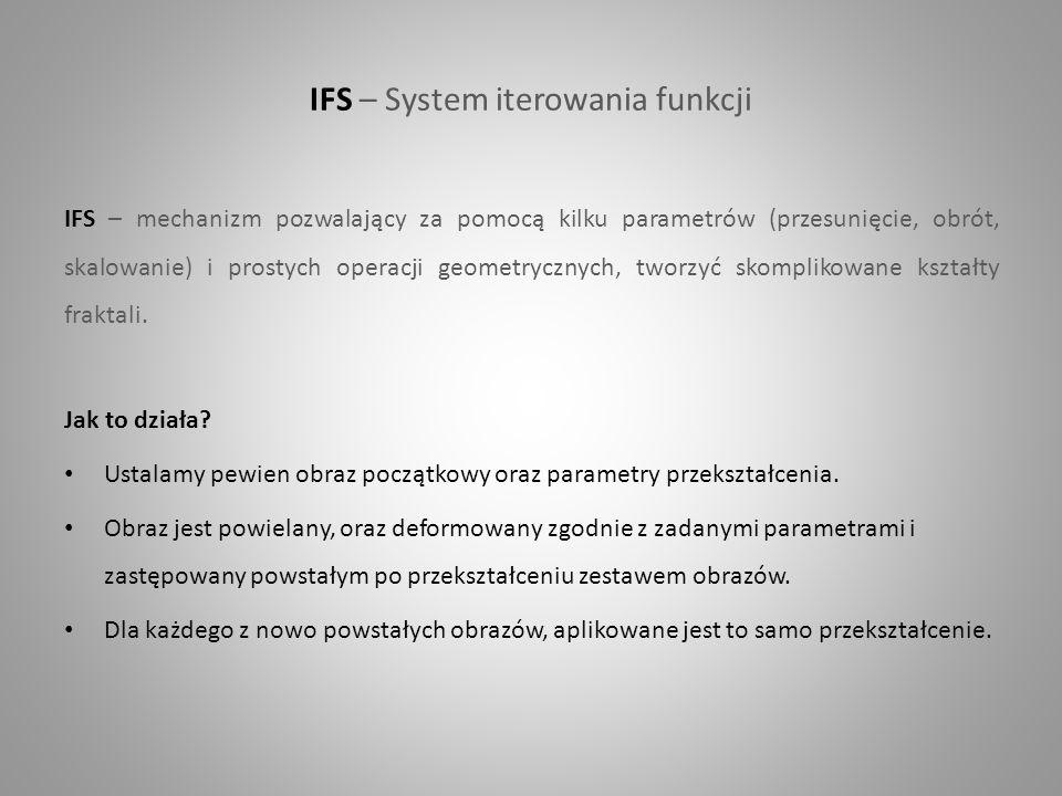 IFS – System iterowania funkcji IFS – mechanizm pozwalający za pomocą kilku parametrów (przesunięcie, obrót, skalowanie) i prostych operacji geometryc