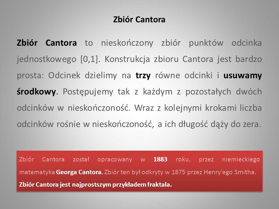Zbiór Cantora Zbiór Cantora to nieskończony zbiór punktów odcinka jednostkowego [0,1]. Konstrukcja zbioru Cantora jest bardzo prosta: Odcinek dzielimy