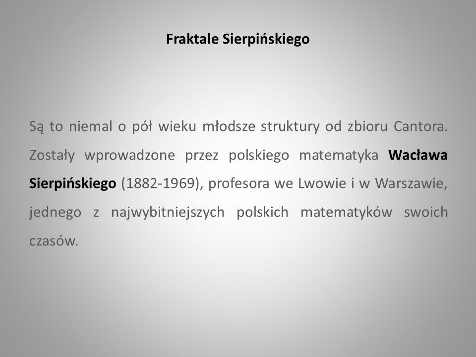 Fraktale Sierpińskiego Są to niemal o pół wieku młodsze struktury od zbioru Cantora. Zostały wprowadzone przez polskiego matematyka Wacława Sierpiński