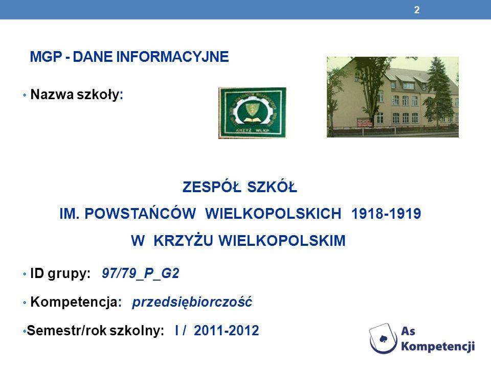 MGP - DANE INFORMACYJNE Nazwa szkoły: ZESPÓŁ SZKÓŁ IM.