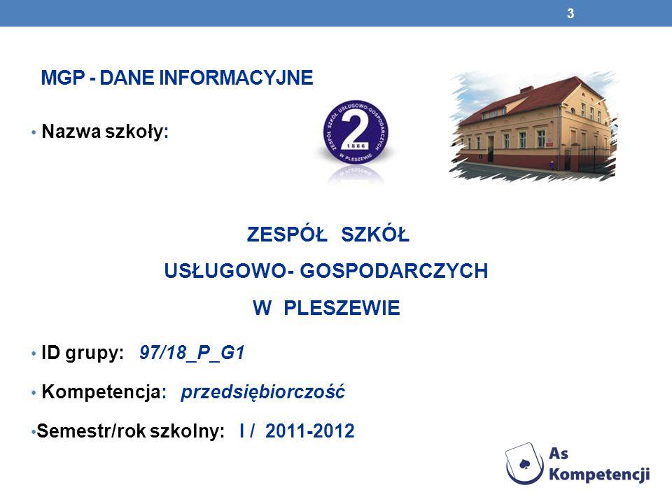 MGP - DANE INFORMACYJNE Nazwa szkoły: ZESPÓŁ SZKÓŁ USŁUGOWO- GOSPODARCZYCH W PLESZEWIE ID grupy: 97/18_P_G1 Kompetencja: przedsiębiorczość Semestr/rok szkolny: I / 2011-2012 3