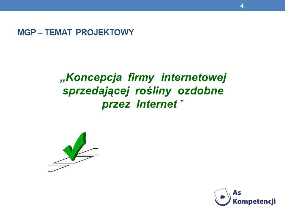 MGP – TEMAT PROJEKTOWY Koncepcja firmy internetowej sprzedającej rośliny ozdobne przez Internet 4