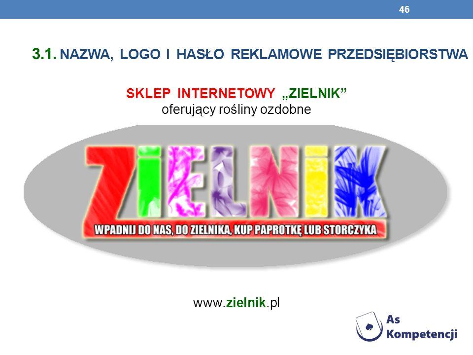 3.1. NAZWA, LOGO I HASŁO REKLAMOWE PRZEDSIĘBIORSTWA 46 SKLEP INTERNETOWY ZIELNIK oferujący rośliny ozdobne www.zielnik.pl