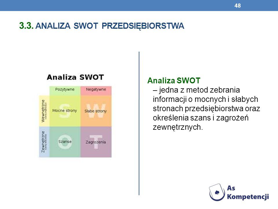 3.3. ANALIZA SWOT PRZEDSIĘBIORSTWA Analiza SWOT – jedna z metod zebrania informacji o mocnych i słabych stronach przedsiębiorstwa oraz określenia szan
