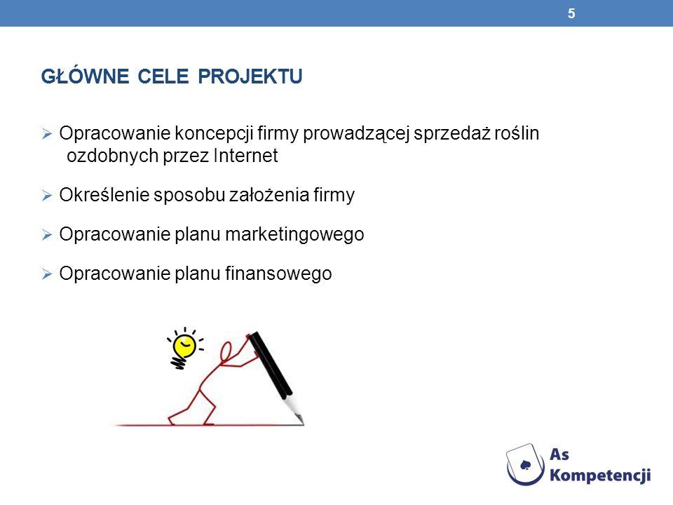 GŁÓWNE CELE PROJEKTU Opracowanie koncepcji firmy prowadzącej sprzedaż roślin ozdobnych przez Internet Określenie sposobu założenia firmy Opracowanie p