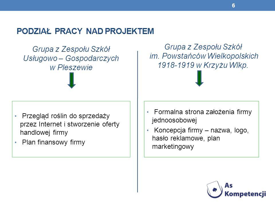 STRUKTURA PROJEKTU I.FORMALNA STRONA ZAŁOŻENIA FIRMY II.