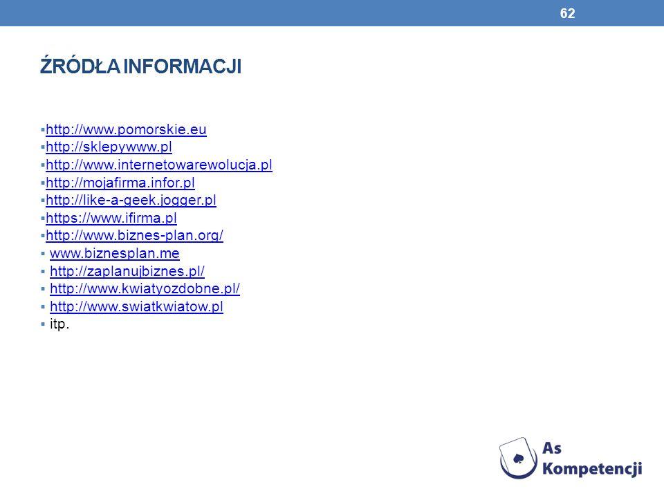 ŹRÓDŁA INFORMACJI 62 http://www.pomorskie.eu http://sklepywww.pl http://www.internetowarewolucja.pl http://mojafirma.infor.pl http://like-a-geek.jogge