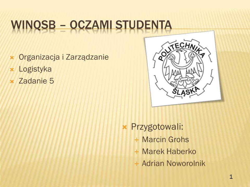 Przygotowali: Marcin Grohs Marek Haberko Adrian Noworolnik Organizacja i Zarządzanie Logistyka Zadanie 5 1