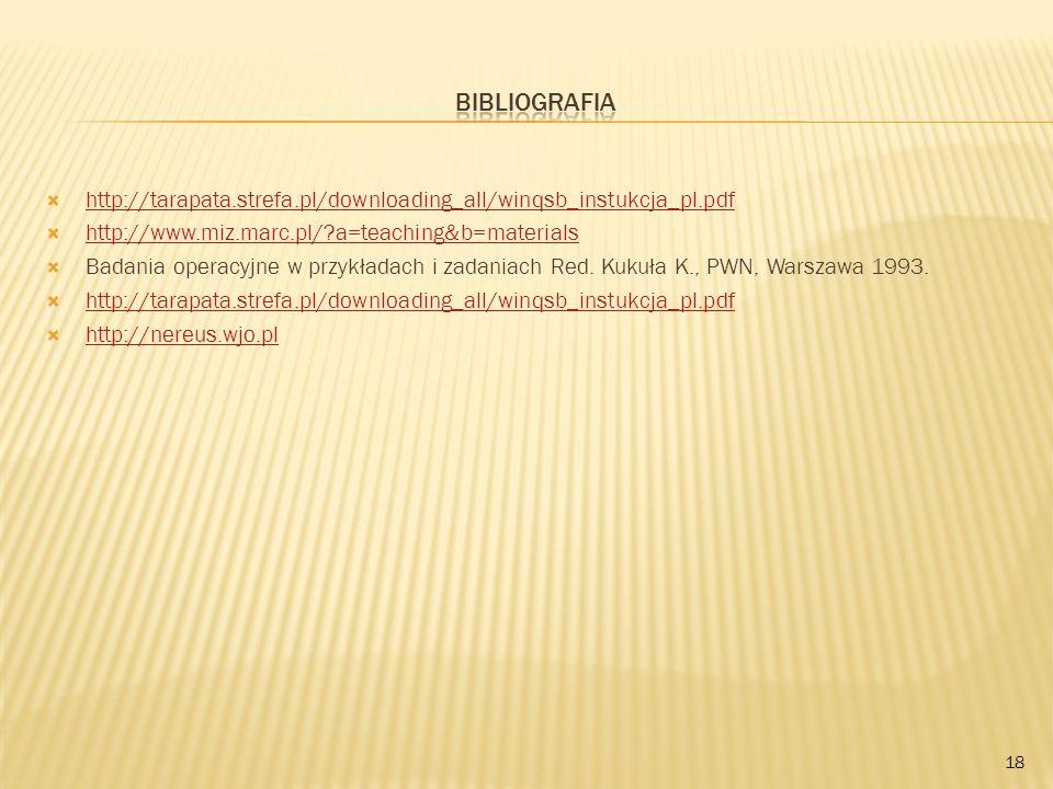http://tarapata.strefa.pl/downloading_all/winqsb_instukcja_pl.pdf http://www.miz.marc.pl/?a=teaching&b=materials Badania operacyjne w przykładach i za